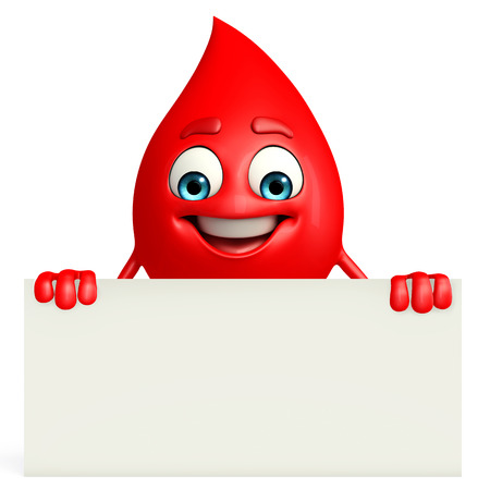 blood bank: Cartoon Character of Blood Drop with sign