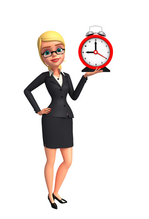 Illustration of Young Business Woman with table clock Stock Illustration - 31141003
