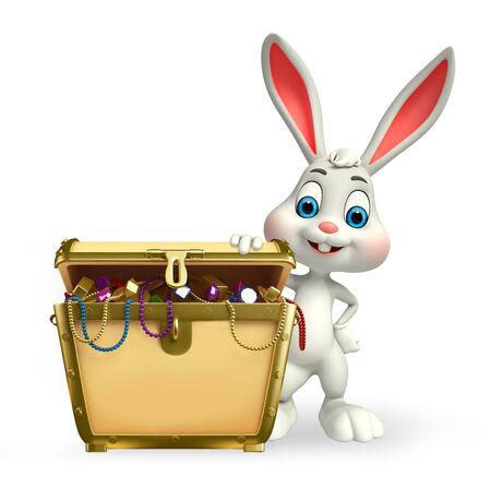Cartoon Character of Easter Bunny with treasure box photo