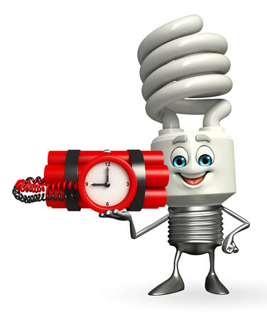 Cartoon Character of CFL with time bomb