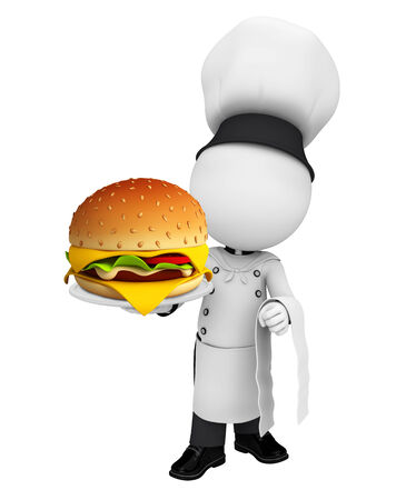 Illustration of white character as a chef with burger illustration
