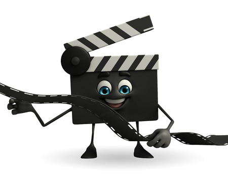 episode: Cartoon Character of Clapper Board with film roll
