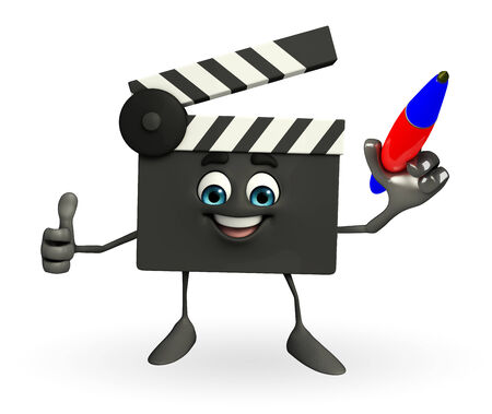 Cartoon Character of Clapper Board with pen photo