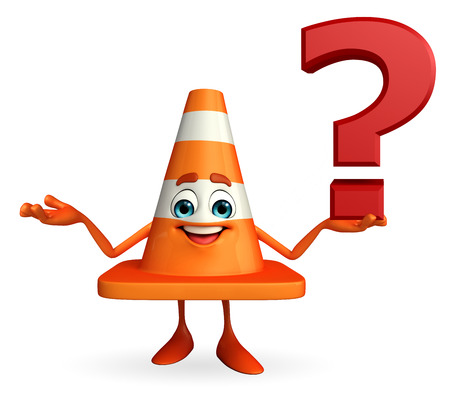 road works ahead: Cartoon Character of Construction cone with question mark sign Stock Photo