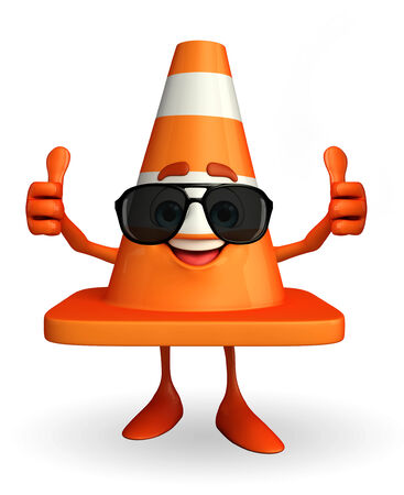 road works ahead: Cartoon Character of Construction cone with goggle