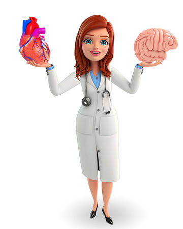 Illustration of young doctor with heart and brain anatomy  illustration