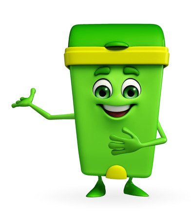 keep clean: Cartoon Character of Dustbin with welcome pose