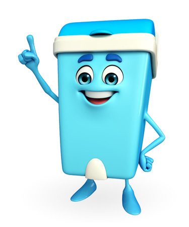 Cartoon Character of Dustbin is pointing