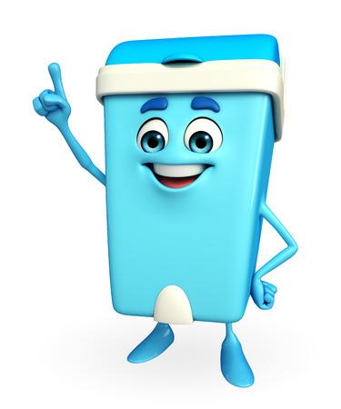 Karakter van het Beeldverhaal van de vuilnisbak wijst