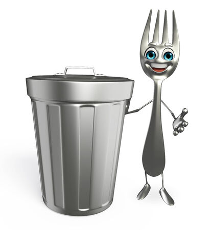 polution: Cartoon character of fork with dustbin