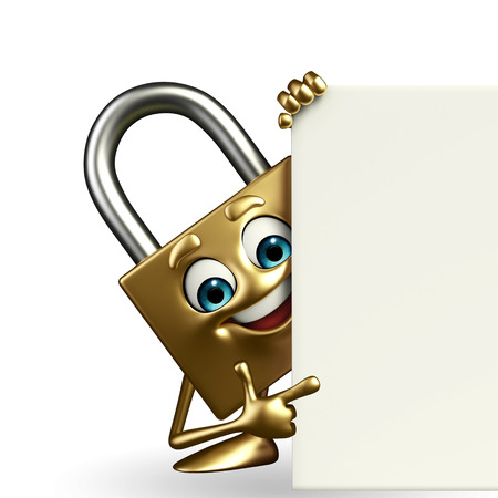 confidentiality: Cartoon Character of lock with sign