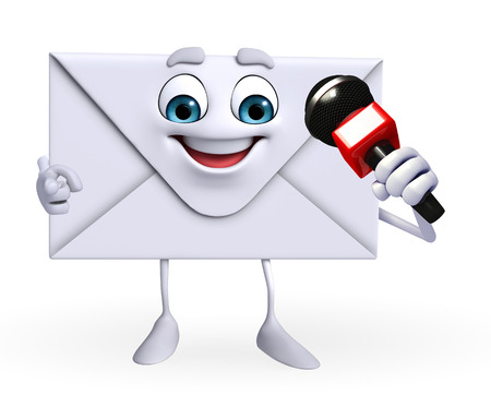 Cartoon Character of mail with mike  photo