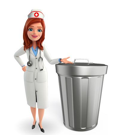 nurse cap: Personaje de dibujos animados de la enfermera con el cubo de basura
