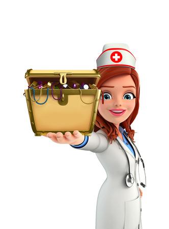 Cartoon Character of Nurse with treasure box photo