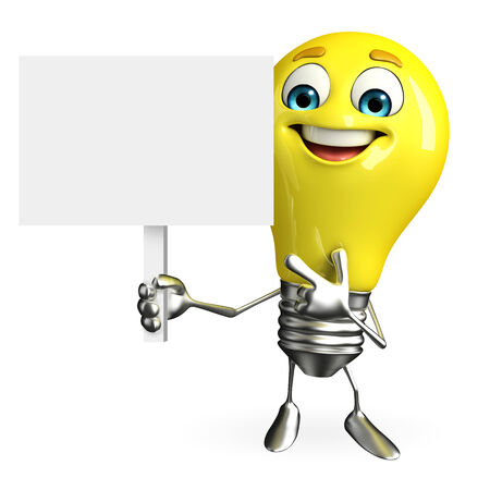 Cartoon Character of light bulb with sign
