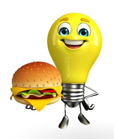 Cartoon Character of light bulb with burger photo