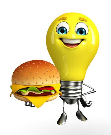 Cartoon Character of light bulb with burger photo