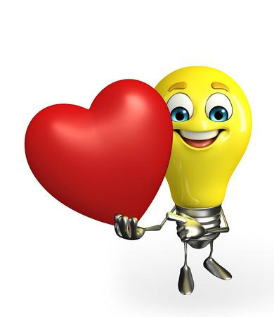 fuze: Cartoon Character of light bulb with heart Stock Photo