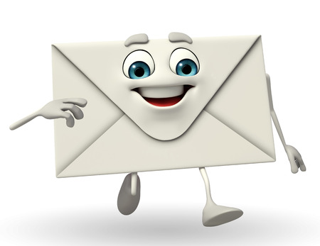 Cartoon Character of mail is running photo