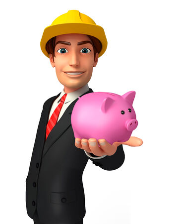 deposite: Illustration of Young Business Man with piggy bank Stock Photo