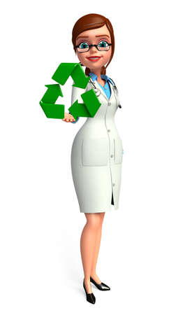 Illustration of young doctor with recycle icon illustration