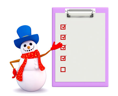 blue santa: Illustration of snowman character with notepad