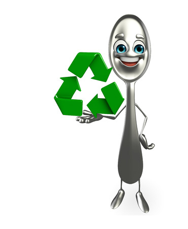 Cartoon character of spoon with recycle icon photo