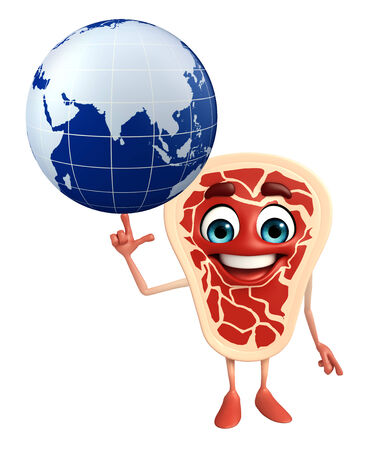 Cartoon Character of meat steak with globe photo