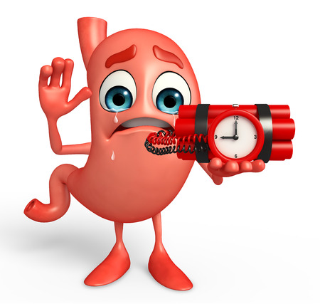 alimentary: Cartoon Character of stomach with time bomb Stock Photo