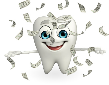 Cartoon character of teeth with dollars