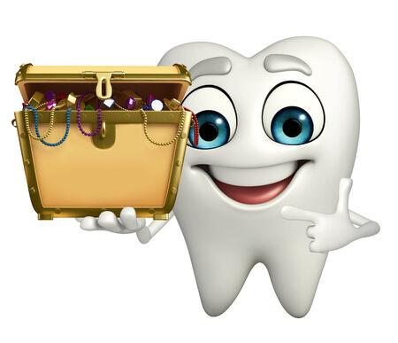 Cartoon character of teeth with treasure box photo