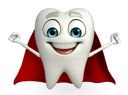 heros: Cartoon character of teeth with superman cloth  Stock Photo