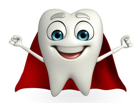 heros: Cartoon character of teeth with superman cloth  Stock Photo