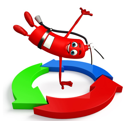 disaster prevention: Cartoon Character of fire extinguisher with arrow Stock Photo