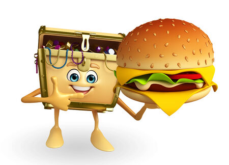 thesaurus: Cartoon Character of Treasure box with burger Stock Photo