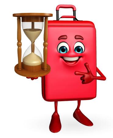 sand clock: Personaggio dei cartoni animati di viaggio Borsa con l'orologio della sabbia Archivio Fotografico