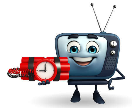 Cartoon Character of TV with Bomb photo