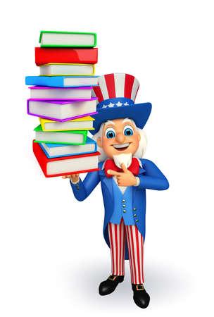 Illustration of uncle sam with books illustration