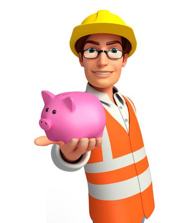deposite: Illustration of young worker with piggy bank Stock Photo