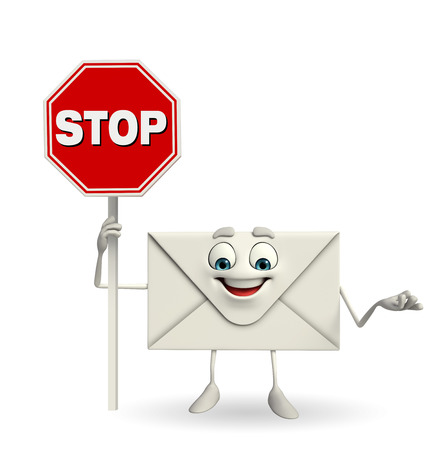 Cartoon Character of mail with stop sign  photo