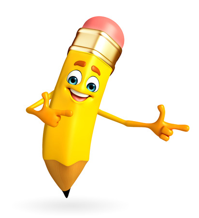 Cartoon Character of pencil is pointing  photo
