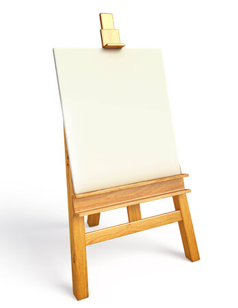 wooden easel with white canvas photo