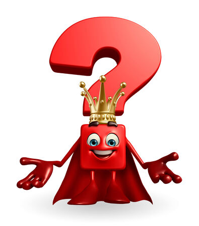 heros: Cartoon Character of Question Mark as a king