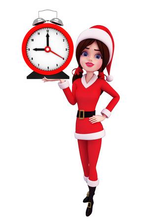 Illustration of santa girl with table clock illustration