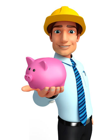 deposite: Illustration of service man with piggy bank