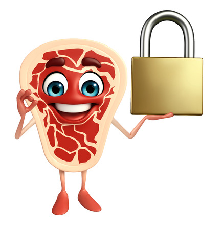 Cartoon Character of meat steak with lock photo