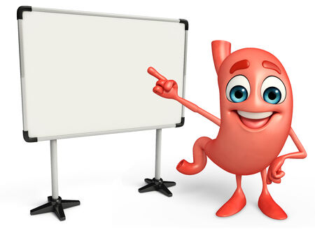 alimentary: Cartoon Character of stomach with display board