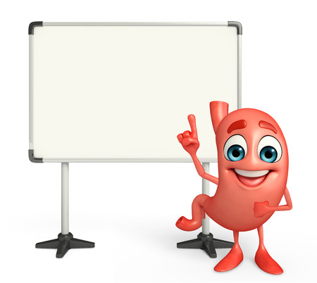 Cartoon Character of stomach with display board photo