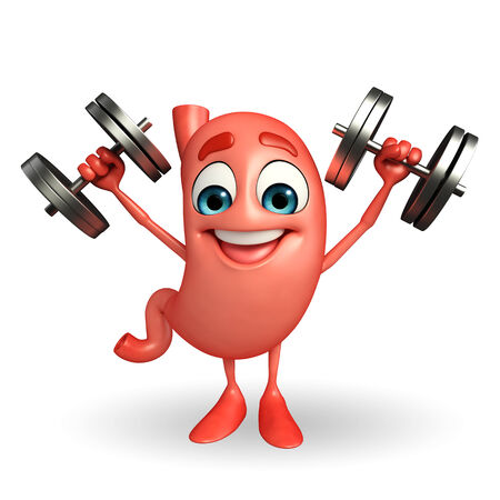 alimentary: Cartoon Character of stomach with dumbells