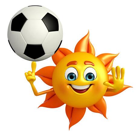 Cartoon Character de soleil avec le football Banque d'images - 31140270